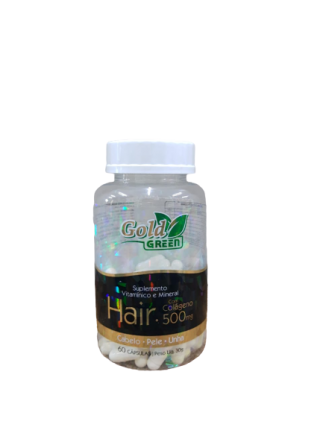 SUPLEMENTO VITAMINICO MINERAL  HAIR 60 CAPSULAS  GOLD GREEN 500 MG